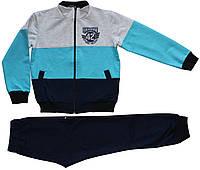 Спортивный костюм мальчику темно-синий с полосатой кофтой, рост 128 см, 140 см, Joiks