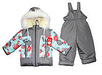 Комбинезоны детские зимние для девочки на овчине, фото 1