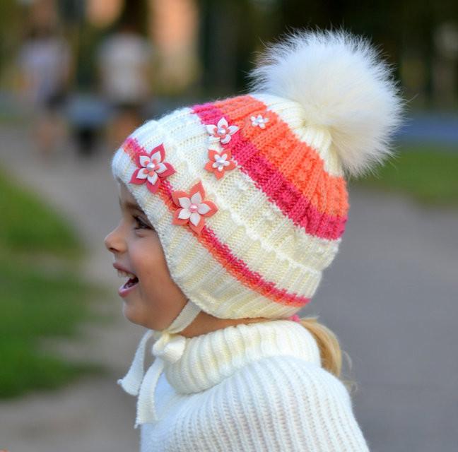 Зимняя шапка флис, песец