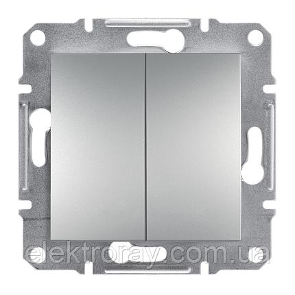 Двойной выключатель Schneider Asfora Plus алюминий, фото 2
