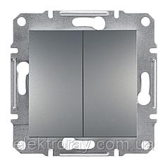 Двойной выключатель Schneider Asfora Plus сталь
