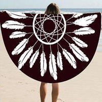 Пляжный коврик Мандала. Черно-белый Перья 150-160см.