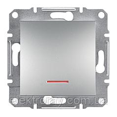 Выключатель с подсветкой Schneider Asfora Plus алюминий