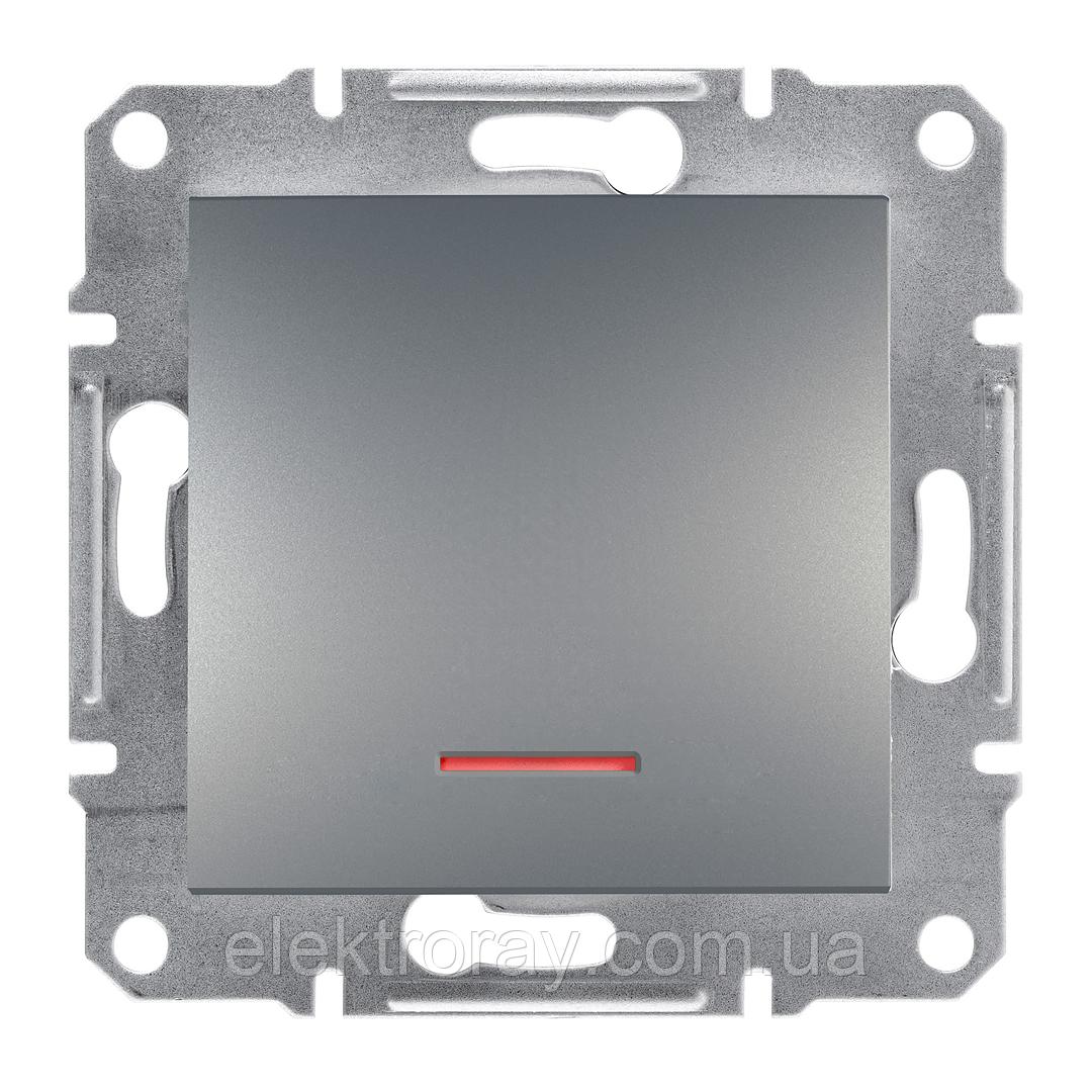 Выключатель с подсветкой Schneider Asfora Plus сталь