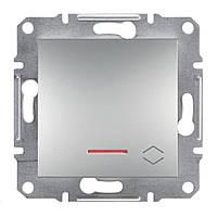 Проходной выключатель с подсветкой Schneider Asfora Plus алюминий