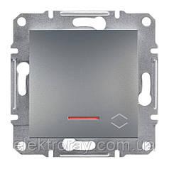 Проходной выключатель с подсветкой Schneider Asfora Plus сталь