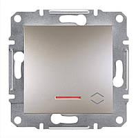 Проходной выключатель с подсветкой Schneider Asfora Plus бронза