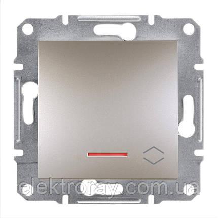 Проходной выключатель с подсветкой Schneider Asfora Plus бронза, фото 2