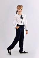 Удобные  детские школьные брюки  для девочки синего цвета