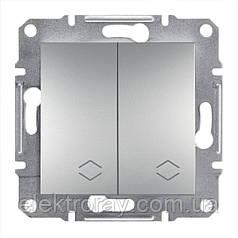 Выключатель двойной проходной Schneider Asfora Plus алюминий