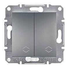 Выключатель двойной проходной Schneider Asfora Plus сталь