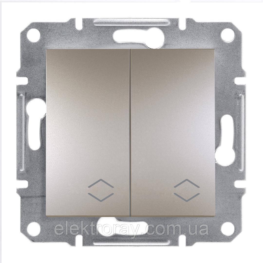 Выключатель двойной проходной Schneider Asfora Plus бронза