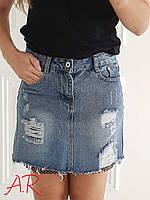 Джинсовая юбка размер С,М (маркировка М,Л) ткань коттон