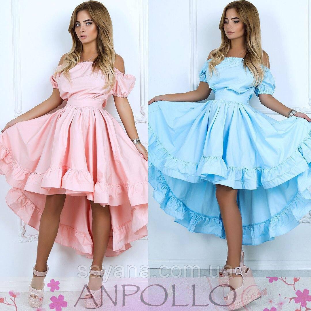 Женское шикарное платье с рюшами в расцветках. НП-5-0717