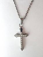 Крестик из нержавеющей стали с фианитами арт 5514