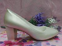 Туфли лодочки бежевые на среднем каблуке