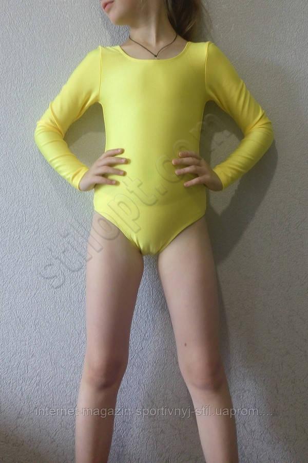 Купальник гимнастический бифлекс подросток желтый