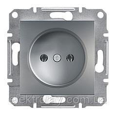 Розетка без заземления Schneider Asfora Plus сталь