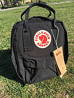 Рюкзак Fjallraven Kanken Classic Bag black. Рефлективное лого.  Живое фото. Качество Топ! (канкен)