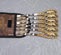 Подарочный набор шампуров Волк  в чехле из плотной ткани 6шт