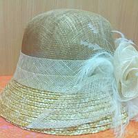 Шляпка женская натуральная солома синамей, темный беж, фото 1