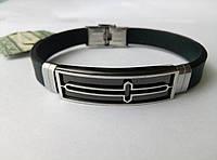Каучуковый браслет с нержавеющей сталью, с крестиком  арт 2511