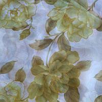 Тюль шифон зеленые цветы