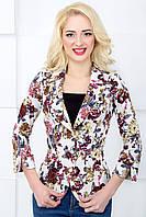 Женский пиджак с цветочным принтом 1018 белый