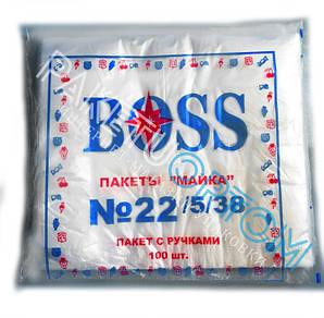 Пакеты майка без рисунка Boss 22х38