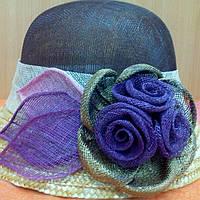 Шляпка кокосовая с маленьким полем, коричневый с фиолетовым цвет, фото 1