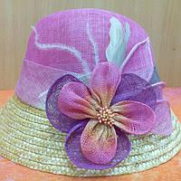 Шляпки кокос цветная с орхидеей, розово-сиреневый цвет