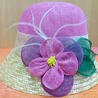 Шляпка женская натуральная солома синамей, розовая, фото 1