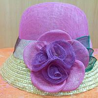 Шляпка женская натуральная солома синамей с маленьким полем