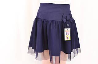 Модная оригинальная школьная юбка с бантиком для девочек