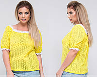 Блуза из прошвы с кружевом 48-50,52-54