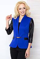 Женский пиджак с рукавом 3\4 из экокожи 1028 электрик