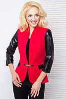Женский пиджак с рукавом 3\4 из экокожи 1028 красный