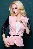 Женский пиджак с рукавом 3\4 из экокожи 1028 розовый