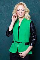 Женский пиджак с рукавом 3\4 из экокожи 1028 зеленый