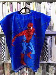 Детское махровое пончо с капюшоном Человек паук