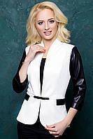 Женский пиджак с рукавом 3\4 из экокожи 1028 белый