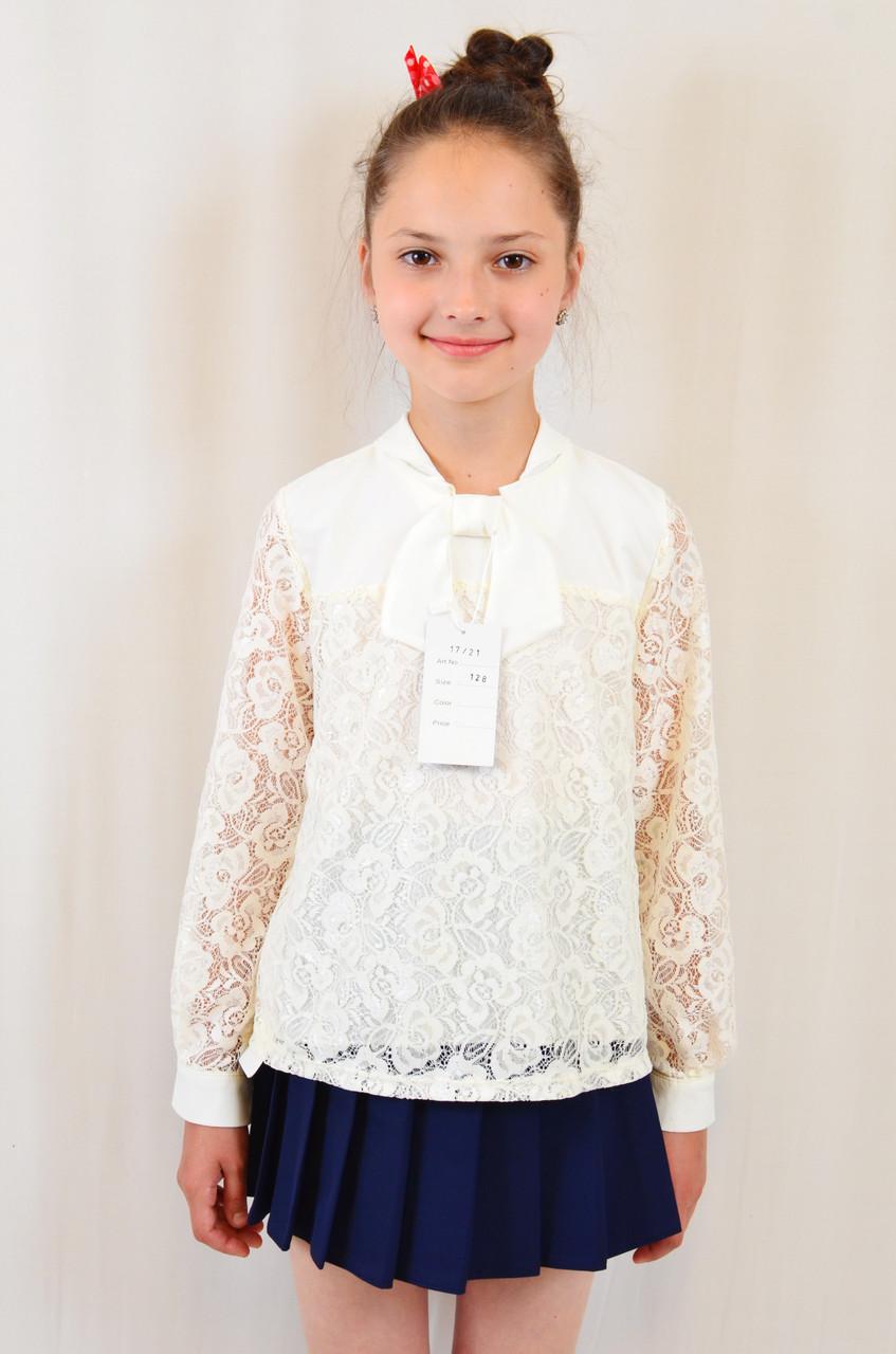 de4ed71b27b Модная нарядная гипюровая блуза с длинным рукавом на девочку ...