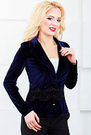 Женский пиджак с отложным воротником 1022 синий