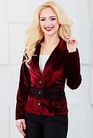 Женский пиджак с отложным воротником 1022 бордовый