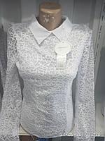 Женская молодежная нарядная белая рубашка