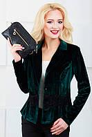 Женский пиджак с отложным воротником 1022 темно-зеленый