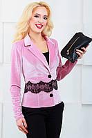Женский пиджак с отложным воротником 1022 розовый