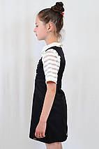 Школьный сарафан недорогой красивый с декоративными бантиками, цвет черный, фото 3
