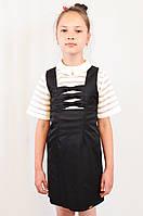 Школьный сарафан недорогой красивый с декоративными бантиками, цвет черный