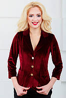 Женский пиджак нарядный с удлиненной спинкой 1024 бордовый